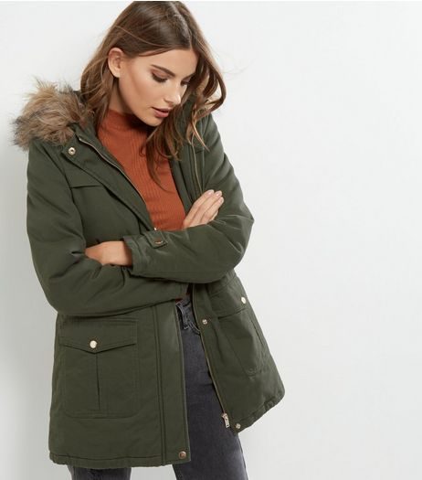 Khaki Faux Fur Trim Drawstring Waist Parka  | New Look