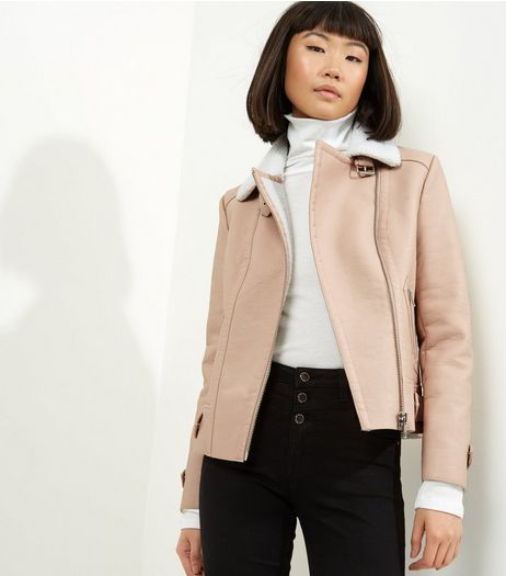 Light Pink Borg Collar Biker Jacket | New Look