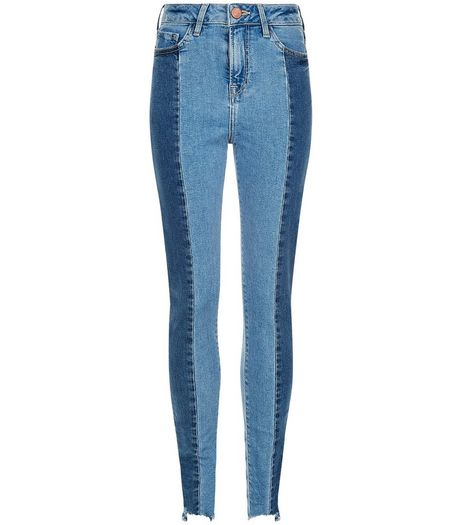 Teens Blue Contrast Panel Angled Hem Skinny Jeans | New Look