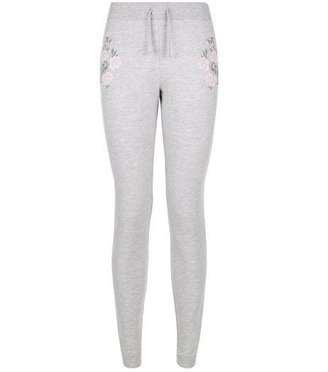 Teens Grey Floral Embroidered Joggers | New Look