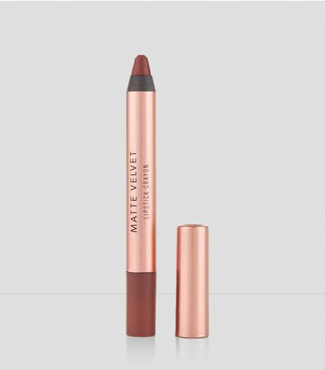 Mid Brown Velvet Matte Lipstick Crayon  | New Look