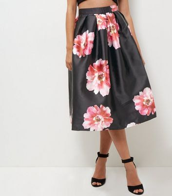 Blue Vanilla Black Floral Print Pleated Balloon Skirt