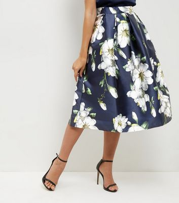 Blue Vanilla Navy Floral Print Pleated Balloon Skirt