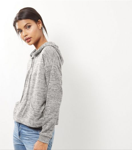 Grey Marl Brushed Hoodie  | New Look