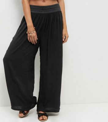 Apricot Black Wide Leg Trousers