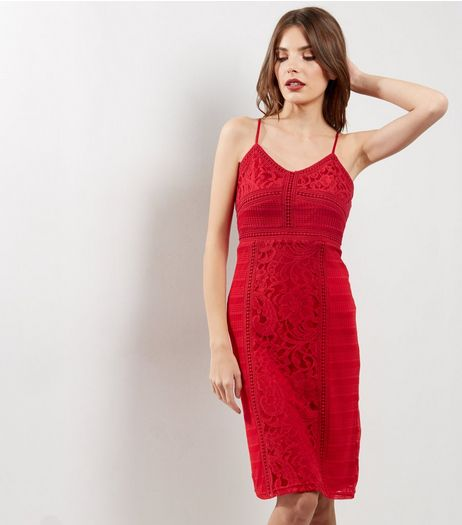 Red Lace Strappy Midi Bodycon Dress | New Look