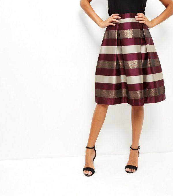 Red Stripe Balloon Midi Skirt