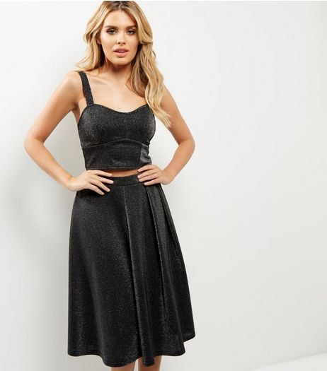 Silver Metallic Midi Skater Skirt  | New Look
