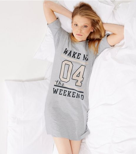Grey Wake Me 04 The Weekend Night Dress | New Look