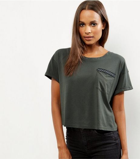 Khaki Chevron Print Trim Military T-Shirt  | New Look