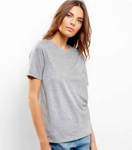 Grey Glitter Star Print T-shirt | New Look