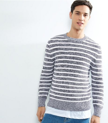 Blue Stripe Crew Neck Long Sleeve Jumper  | New Look