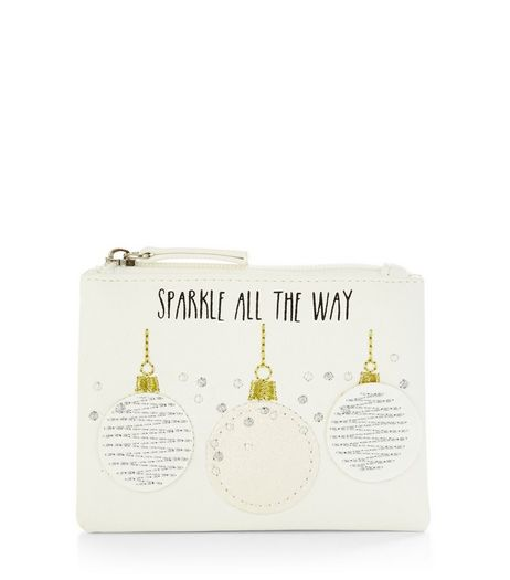 Cream Sparkle All The Way Coin Purse | New Look