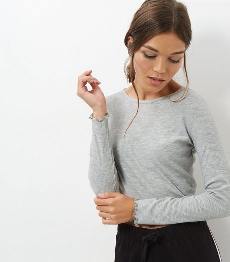 Grey Ribbed Frill Trim Long Sleeve Top | New Look