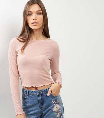 Product photo of Pink ribbed frill trim long sleeve top