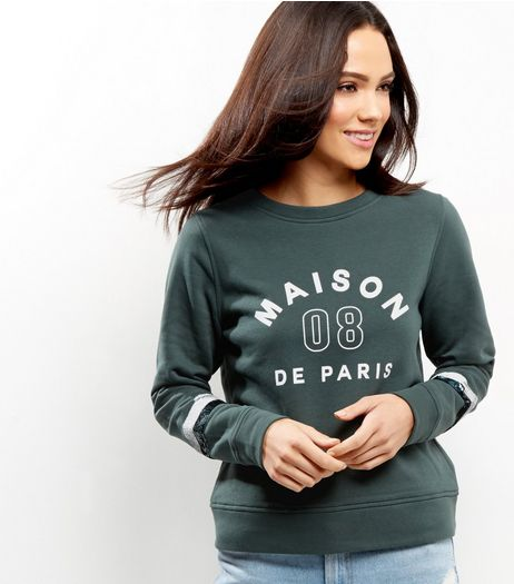 Dark Green Sequin Slogan Stipe Sleeve Print Sweater  | New Look