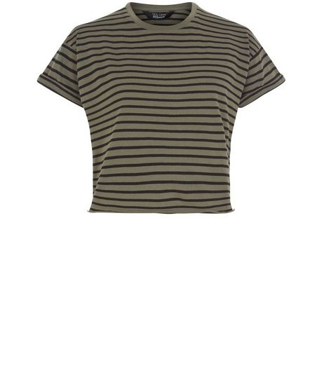 Teens Khaki Stripe Cropped Cotton T-Shirt | New Look