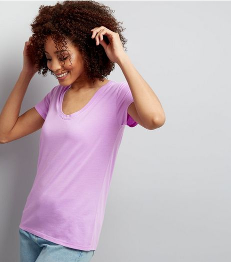 Purple Scoop Neck Short Sleeve T-Shirt  | New Look