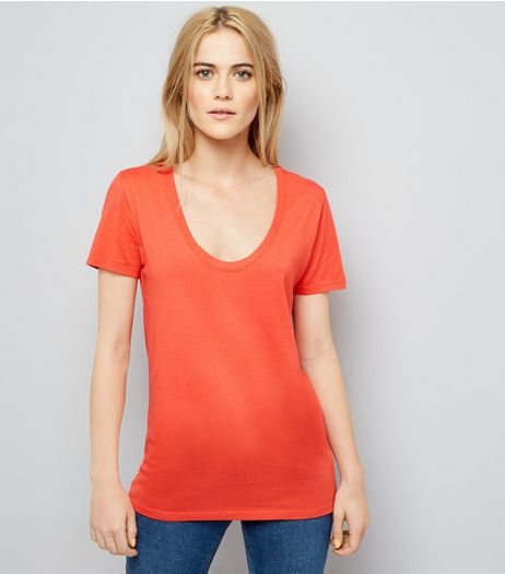 Red Scoop Neck Short Sleeve T-Shirt | New Look