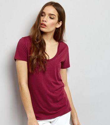 Deep Pink Scoop Neck Short Sleeve T-Shirt