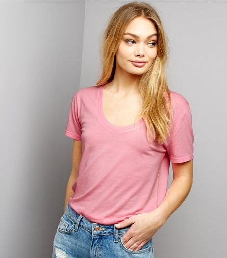 Pink Scoop Neck Short Sleeve T-Shirt  | New Look