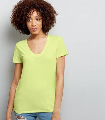 Yellow Scoop Neck Short Sleeve T-Shirt