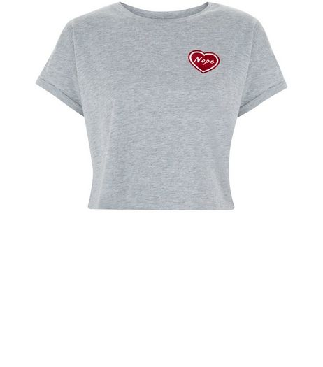 Teens Grey Heart T-Shirt  | New Look