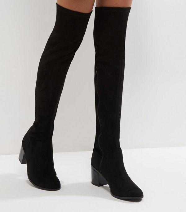 Wide Fit Black Comfort Suedette Block Heel Over The Knee Boots