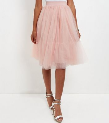 Gonna  donna Cameo Rose Shell Pink Tulle Pleated Midi Skirt