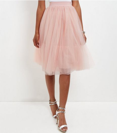 Cameo Rose Shell Pink Tulle Pleated Midi Skirt  | New Look