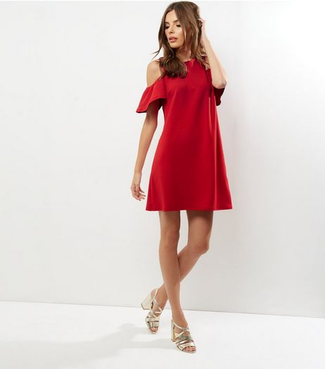 Red Crepe Cold Shoulder Tunic Dress | New Look