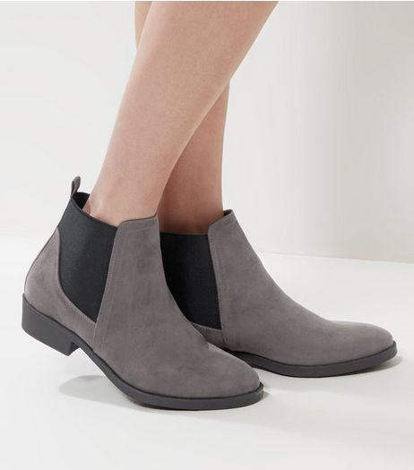 Grey Suedette Chelsea Boots | New Look