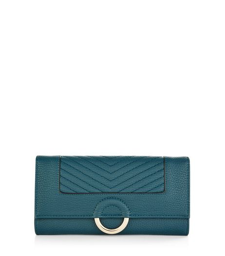 Dark Green Ring Front Quilted Purse  | New Look