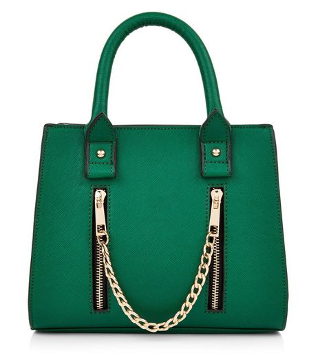 Green Mini Gold Chain Structured Tote Bag | New Look