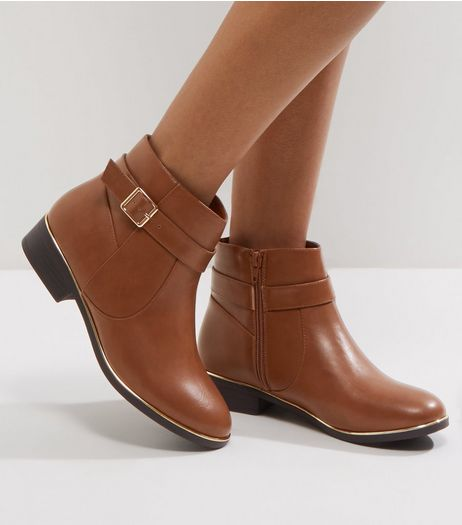 Wide Fit Tan Leather-Look Metal Trim Ankle Boots | New Look