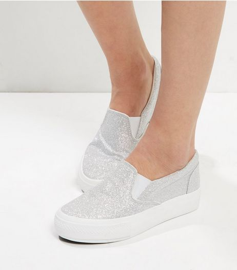 Wide Fit Silver Glitter Platform Slip On Plimsolls | New Look