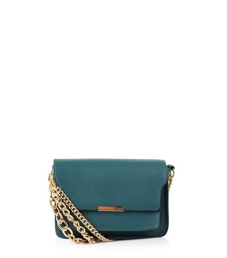 Dark Green Layered Chain Shoulder Bag | New Look
