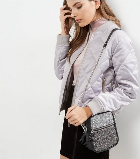 Silver Glitter Ombre Shoulder Bag | New Look