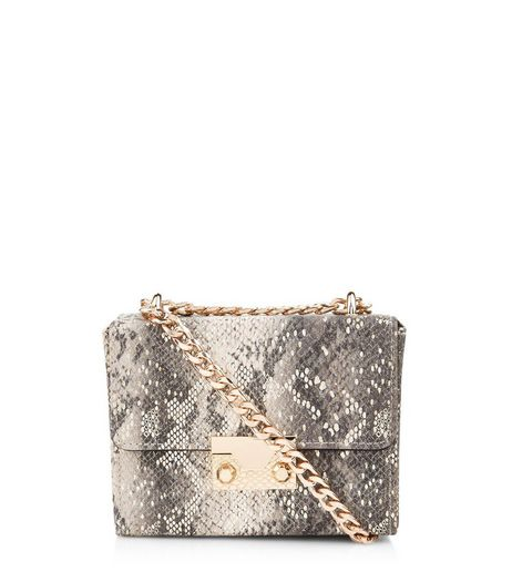 Grey Snake Skin Micro Box Clutch | New Look