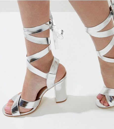 Wide Fit Silver Tie Up Block Heeled Sandals | New Look