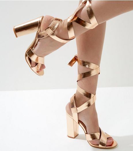 Wide Fit Rose Gold Tie Up Block Heeled Sandals | New Look