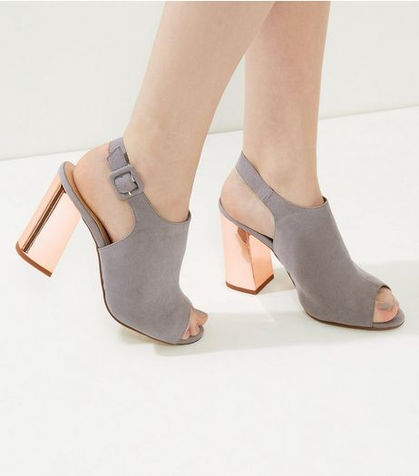 Wide Fit Grey Suedette Sling Back Flared Metal Block Heels | New Look