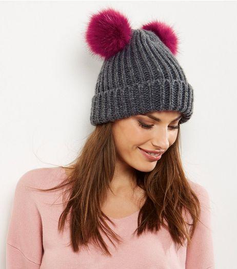 Grey Double Faux Fur Pom Pom Beanie Hat | New Look