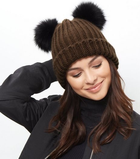 Khaki Double Faux Fur Pom Pom Hat | New Look