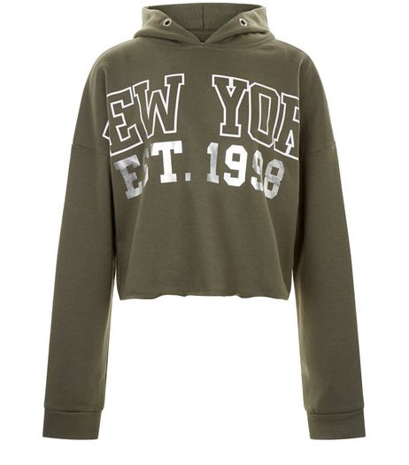 Teens Khaki New York Foil Print Hoodie | New Look