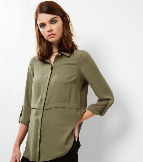Khaki Seam Trim Longline Shirt  | New Look
