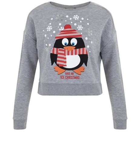 Girls Grey Christmas Penguin Sweater | New Look