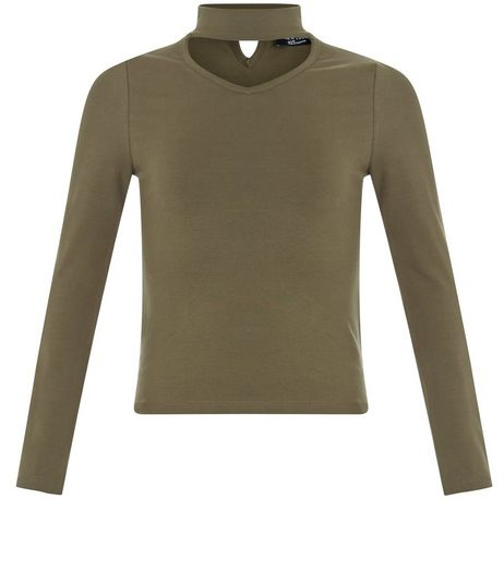 Girls Khaki Long Sleeve Choker Neck Top | New Look