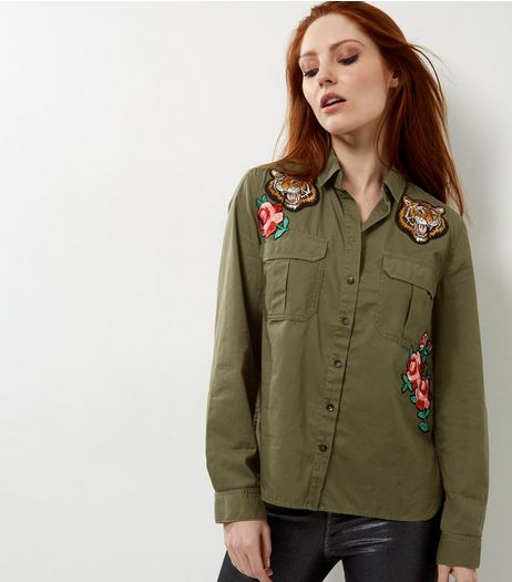 Khaki Tiger Badge Military Shirt  | New Look