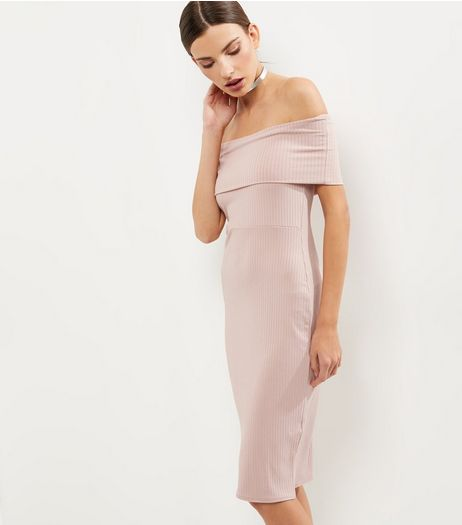 Mid Pink Ribbed Bardot Neck Layered Midi Dress | New Look